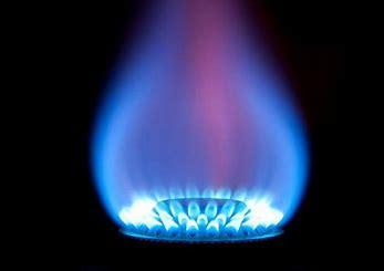 Blue gas lit flame.